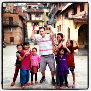 Rollin' with some kids in Patan's alleys