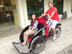 Trying the trishaw in Singapore